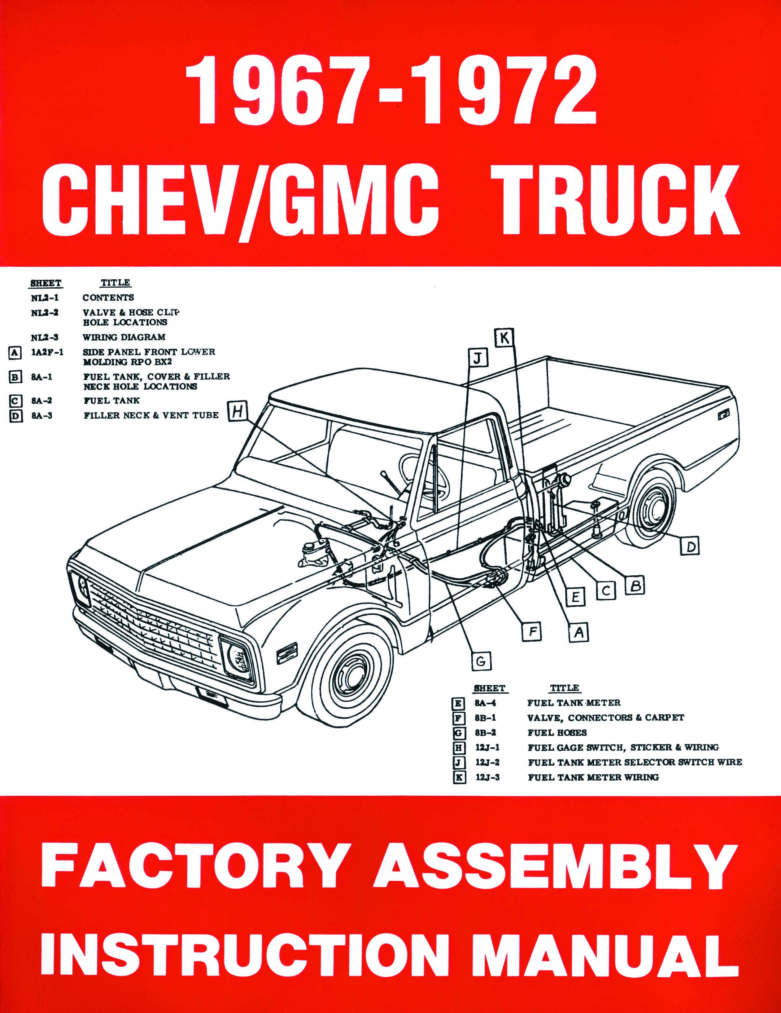 1967 1968 1969 1970 1971 1972 Chevrolet And Gmc Pickup Truck Wiring Diagram Assembly Manual