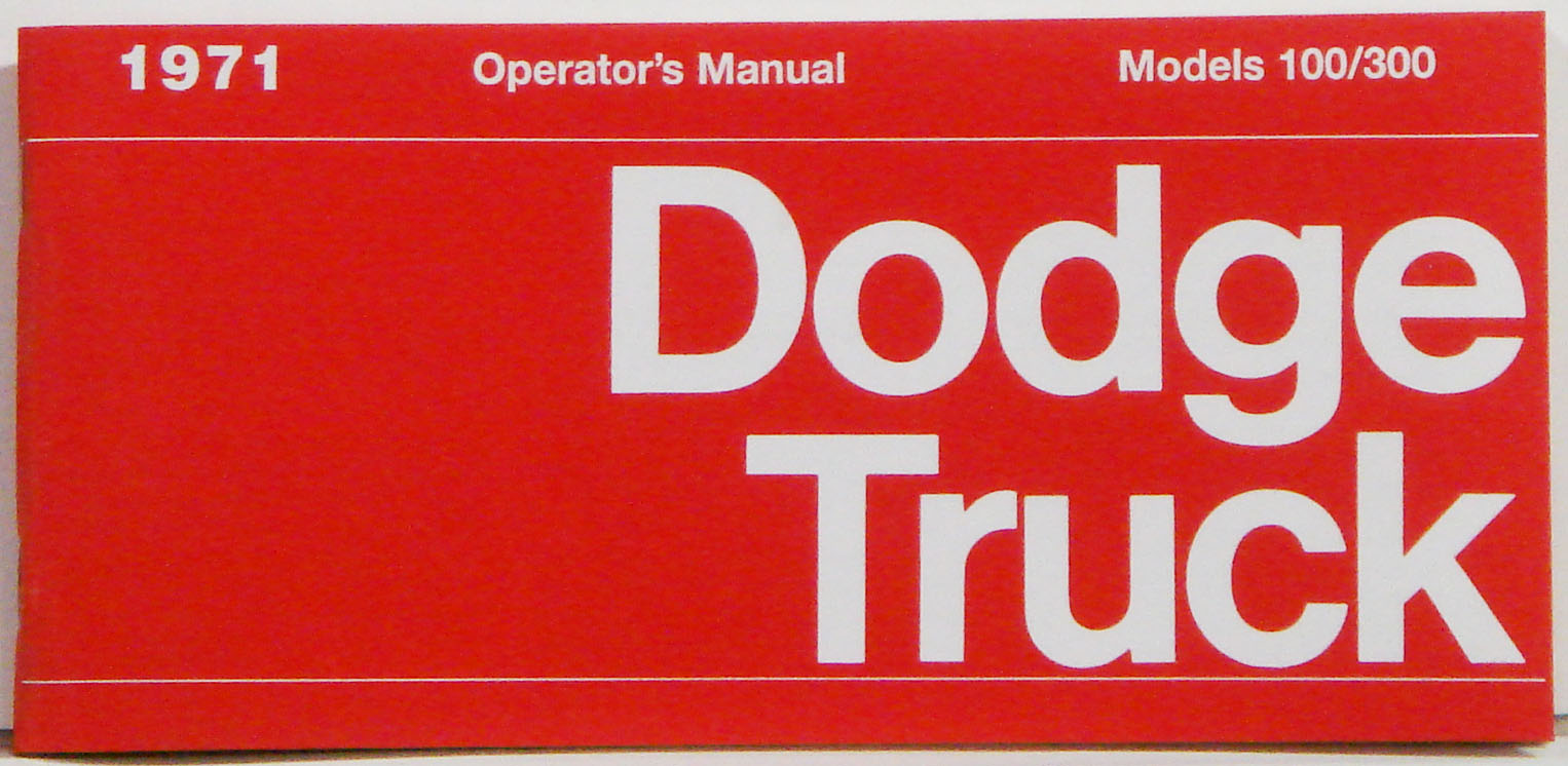 1971 Dodge Truck Owners Manual