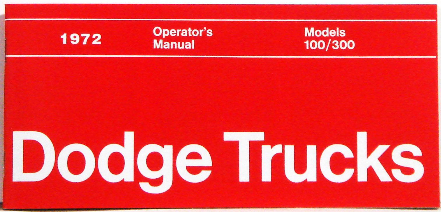 1972 Dodge Truck Owners Manual