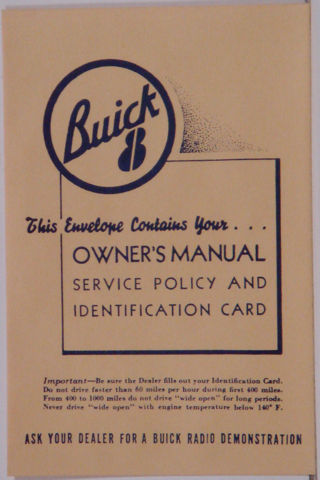 1950-60 Buick Owners Manual Envelope
