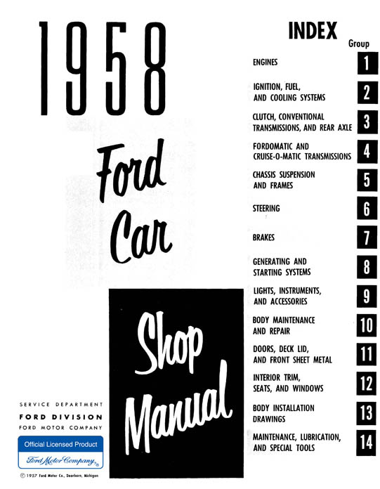 1958 ford car shop manual