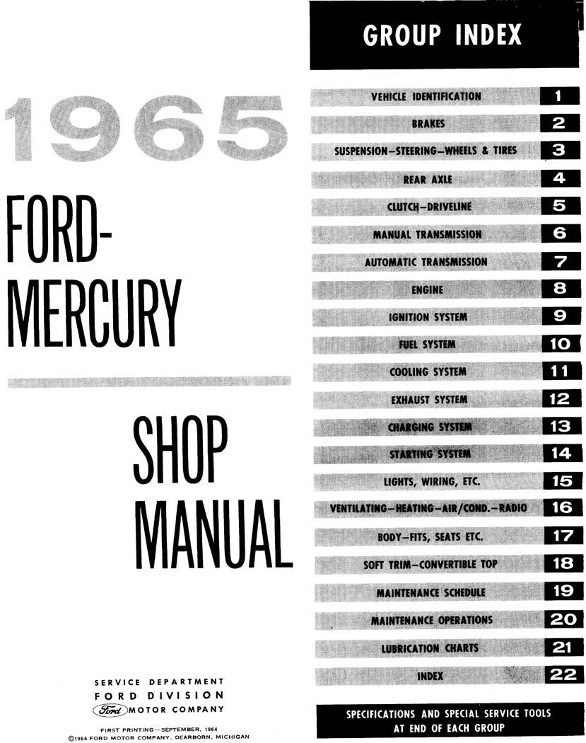 1965 Ford And Mercury Big Car Repair Manual