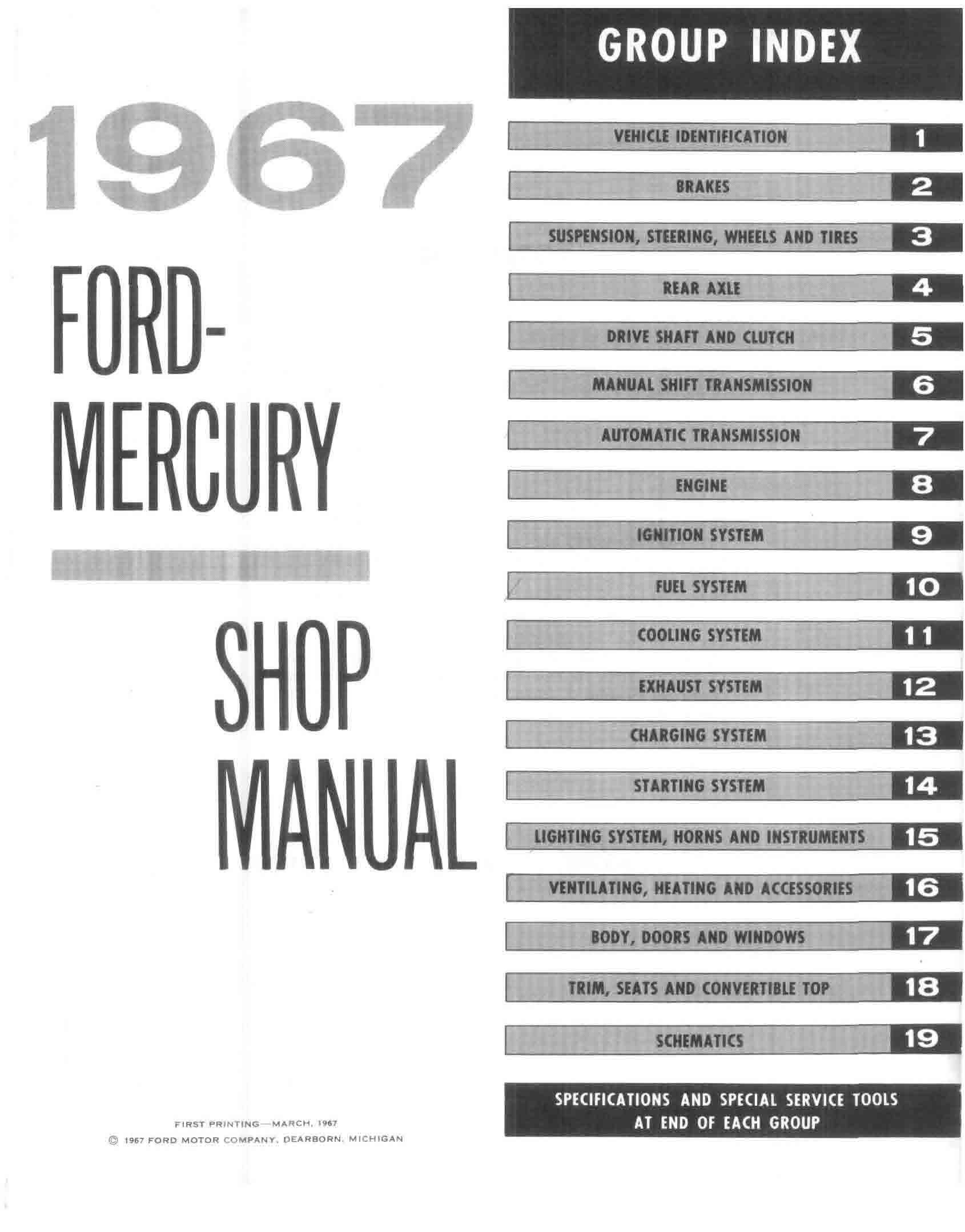 1967 Ford  U0026 Mercury Big Car Shop Manual