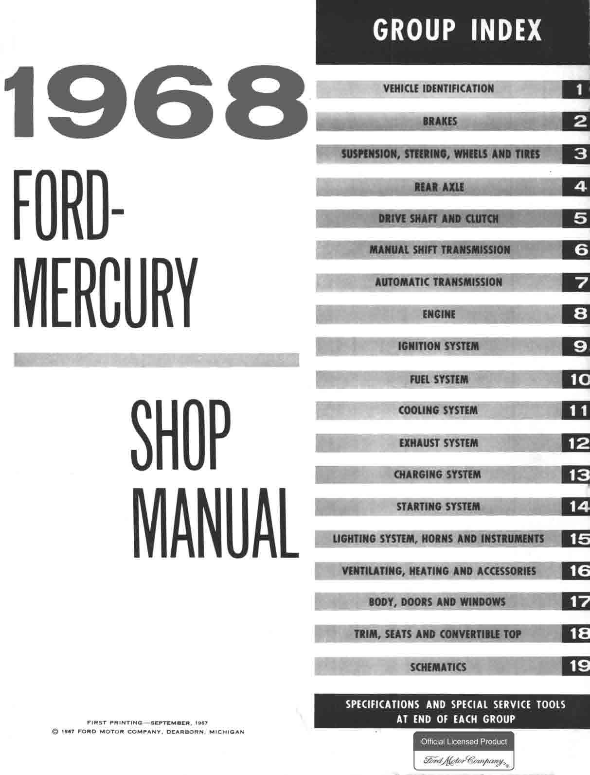 1968 Ford And Mercury Big Car Repair Manual