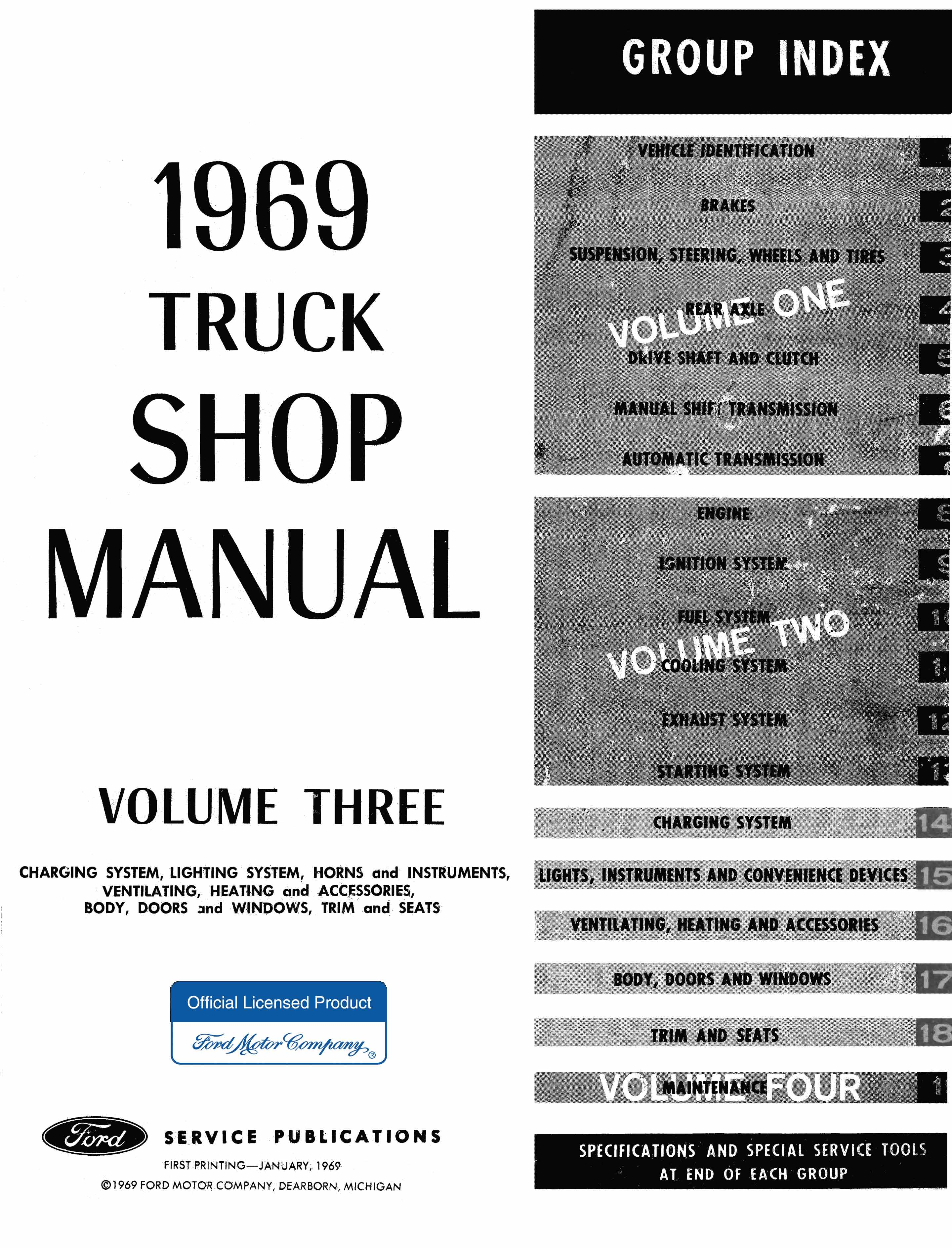 1969 Ford Truck Shop Manual 4 Volume Complete Service Factory N Series Repair