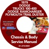 1979 DODGE 100-400 PICKUP TRUCK, RAMCHARGER & TRAIL DUSTER SERVICE MANUAL