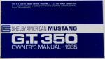 1965 Shelby Mustang Owners Manual