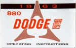 1963 Dodge 880 Owners Manual