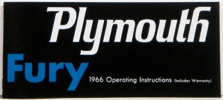1966 Plymouth Fury Owners Manual